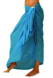 1 World Sarongs Solid Turquoise Sarong Swimsuit Beach Cover Up Wrap Skirt Pareo $16.99