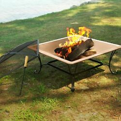 Fire Bowl Portable Heating Home Patio Outdoor 33 Inch Square