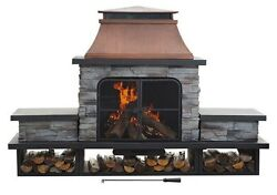 Outdoor Fireplace Fire Pit Patio Heater Backyard Wood Burning Deck Gas Steel New