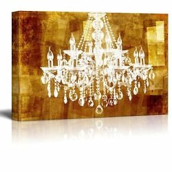 Canvas Crystal Chandelier on Vintage Golden Background 12quot;x18quot; $28.82