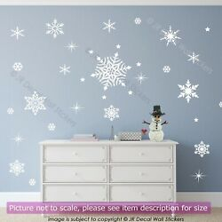 50 Snowflakes stickers for Christmas wall decorations Xmas wall art home decor GBP 8.50