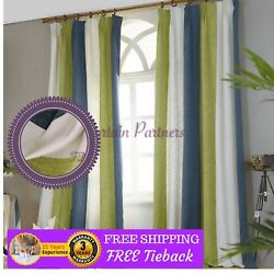 Green*White*Blue Curtain Bedroom Chenille Design Fabric Drape Pinch Pleats Hooks