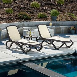 Omega 3-piece Commercial Outdoor Poolside Stackable Polyester Lounge Chair Set
