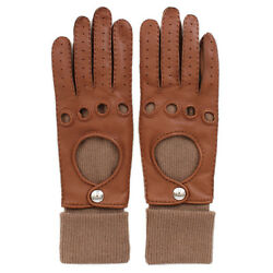 33150 auth HERMES cognac brown leather & cashmere FUSION Gloves Sz. 7 NEW