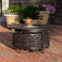 Sedona Cast Aluminum Outdoor Garden Patio Table LPG Round Fire Glass Bowl Pit