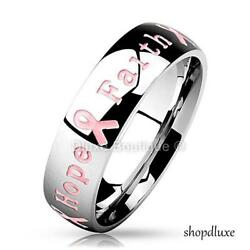 STAINLESS STEEL 6MM PINK RIBBON BREAST CANCER AWARENESS RING BAND SIZE 5-12