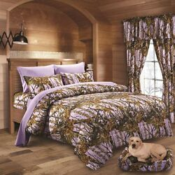 17 PC LAVENDER CAMO COMFORTER SHEET AND CURTAIN SET FULL  CAMOUFLAGE BEDDING