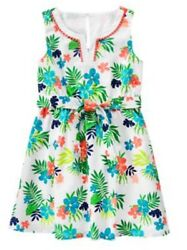NWT Gymboree Girls SUNNY SAFARI Woven Belted Tropical Flower Dress Size 7