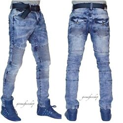 Mens slim distressed biker g jeans urban skinny star denim beached pants hip