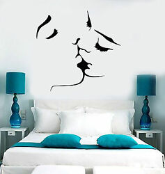 Vinyl Wall Decal Kissing Couple Love Romantic Bedroom Stickers ig3715 $28.99