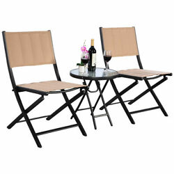 3PCS Patio Folding Table Chairs Set Bistro Garden Outdoor Furniture Steel New