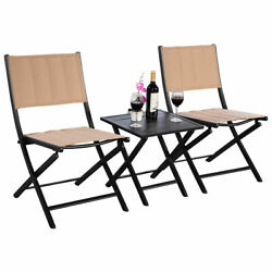 3PCS Patio Folding Square Table Chairs Set Bistro Garden Furniture New
