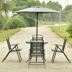 6PCS Patio Garden Set Furniture 4 Folding Chairs Table with Umbrella Gray