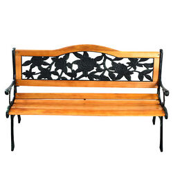 Patio Park Garden Bench Porch Path Chair Furniture Cast Iron Hardwood New