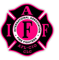 4quot; IAFF Decal Black with Hot Pink Trim Exterior Mount PLEASE READ AUCTION