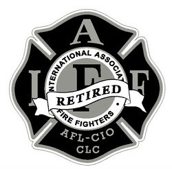 4quot; IAFF Decal Retired Black with Silver Trim Exterior Mount PLEASE READ AUCTION