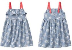 Gymboree Tropical Breeze Floral Flower Denim Ruffle Dress Girls Nwt Size 4