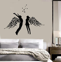 Vinyl Wall Decal Love Couple Romance Wings Bedroom Stickers ig3793 $49.99