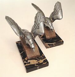 Vintage BALLESTE 1930s French Art Deco Eagle Chrome Nickel Plated Bronze Brass