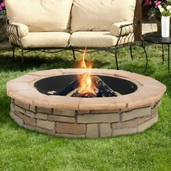 Natural Concrete Products Random Stone Steel Outdoor Garden Wood Bowl Fire Pit