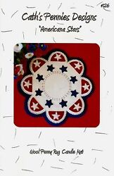 ~ AMERICANA STARS ~ Penny Rug Wool Applique Pattern by Cath's Pennies Designs