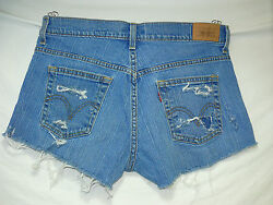 Women's 505 Levi's Jean short shorts Wrecked Destroyed Distressed Size 10 SASSY