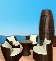 Art-Deck-Oh! Geo-Vase Interlocking All-weather Wicker Furniture Set