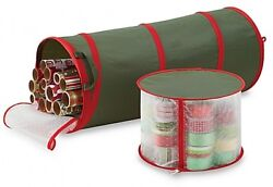 New Real Simple Pop Up Green With Red Trim Gift Wrap And Ribbon Organizer