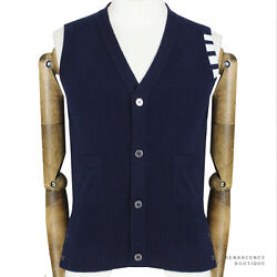 Thom Browne Dark Blue White Banding Pure Cashmere Knitwear Cardigan Tank 1 IT46
