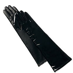 Luxury Lane Women's Cashmere Lined Patent Leather Long Gloves