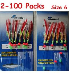 2 100 Packs Size 6 Sabiki Bait Rigs 6 Hooks Red Feather Saltwater Fishing Lures $8.99