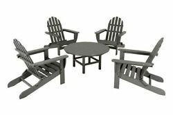 POLYWOOD Classic Adirondack 5-Piece Conversation Group in Slate Grey