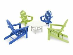 Folding Adirondack 5-Piece Conversation Group in Pacific BlueLime
