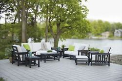 POLYWOOD Mission 8-Piece Deep Seating Group in Black  Bird's Eye