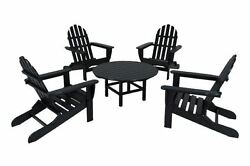POLYWOOD Classic Adirondack 5-Piece Conversation Group in Black