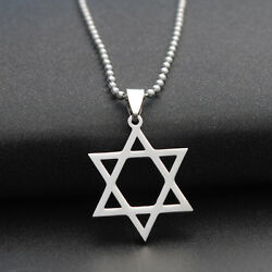 Stainless Steel Star Of David Pendant Necklace Chain or Leather Rope Necklace Je $4.99