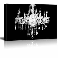 wall26 Canvas Wall Art Crystal White Chandelier on Black Background 24quot;x36quot; $44.34