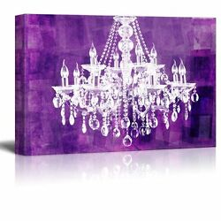 wall26 Canvas Crystal White Chandelier on Grunge Purple Background 24quot;x36quot; $44.34