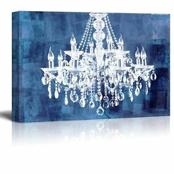 wall26 Canvas Crystal White Chandelier on Grunge Blue Background 32quot;x48quot; $77.61
