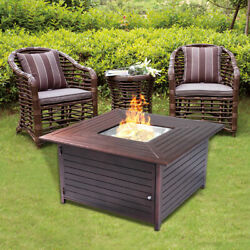 40000BTU Aluminum Propane Gas Outdoor Fire Pit Table Stove Furniture WLid