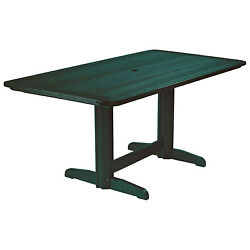 Recycled Plastic Double Pedestal Dining Table WBase Green 72