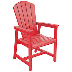 Recycled Plastic Arm Dining Adirondack Style Chair Red 22