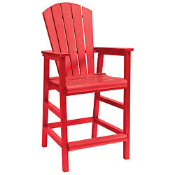 Recycled Plastic Dining Adirondack Style Pub Arm Chair Red 18