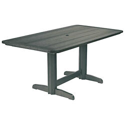 Recycled Plastic Double Pedestal Dining Table WBase Slate 72