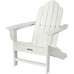 All-Weather Contoured Adirondack Chair W Hideaway Ottoman White