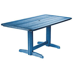 Recycled Plastic Double Pedestal Dining Table WBase Blue 72