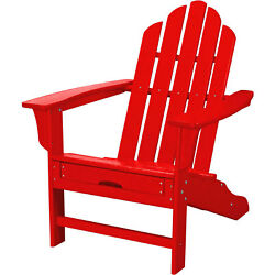 All-Weather Contoured Adirondack Chair w Hideaway Ottoman Sunset Red Lot of 1