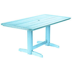 Recycled Plastic Double Pedestal Dining Table WBase Aqua 72