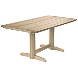 Recycled Plastic Double Pedestal Dining Table WBase Beige 72