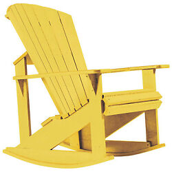 Recycled Plastic Adirondack Rocking Chair Yellow 34